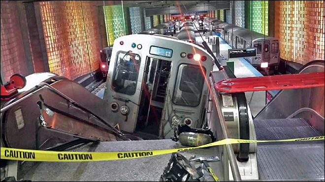 Train derails, climbs escalator at Chicago airport
