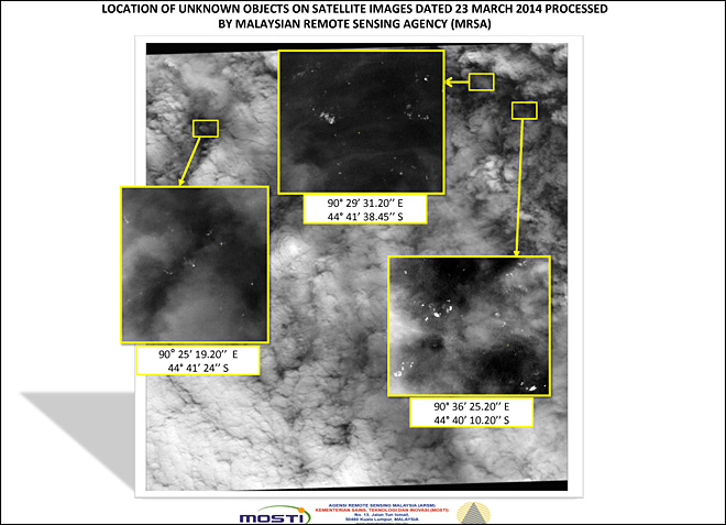 Satellite spots 122 objects in Malaysia jet search
