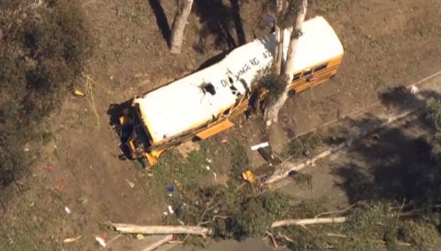 12 hurt in SoCal school bus crash