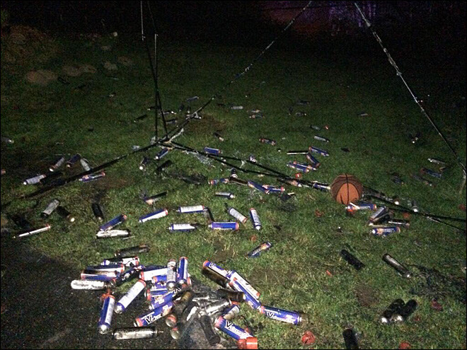 Pot, butane cans litter yard after hash oil explosion