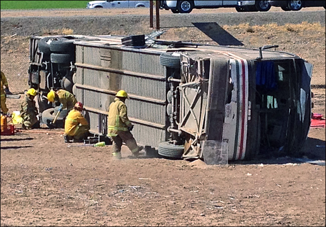 4 killed, 7 injured in Calif. bus crash caused by spilled cargo