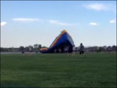 Bouncy house blows away in Colorado