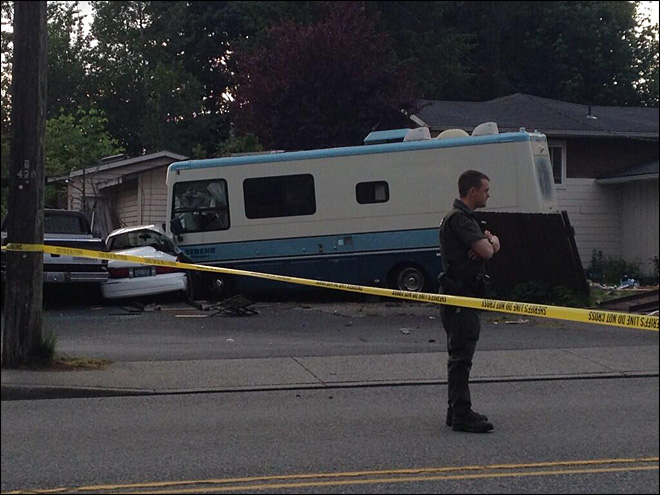 Chase ends when stolen RV slams into house