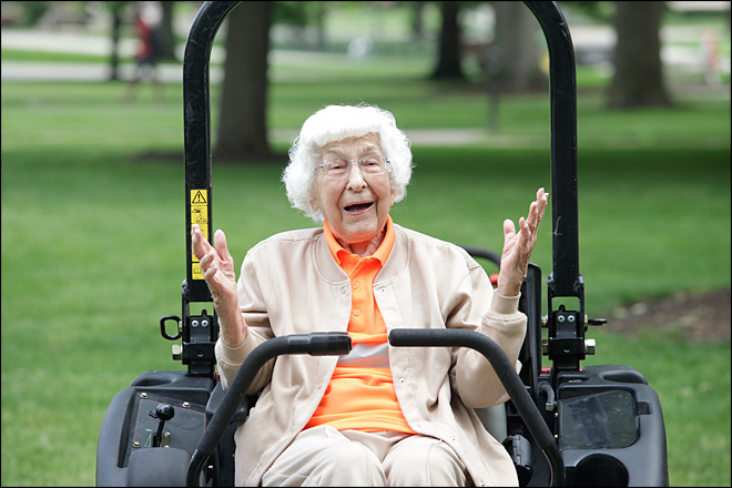 Woman's 100th birthday wish? Mowing the lawn