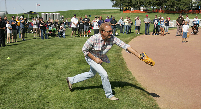 Costner, sons play catch at 'Field of Dreams' site
