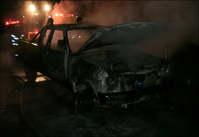 Police: Stolen pickup found burning along I-5 near Creswell