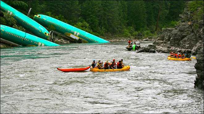 Boeing checking for damage to plane parts that fell off train