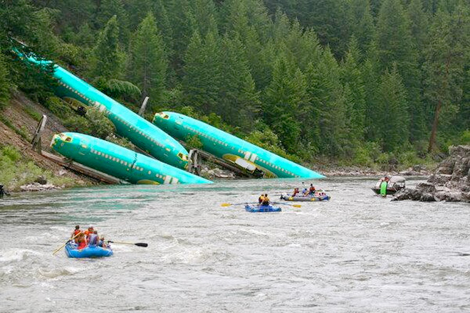 Train carrying Boeing fuselages derails in Montana