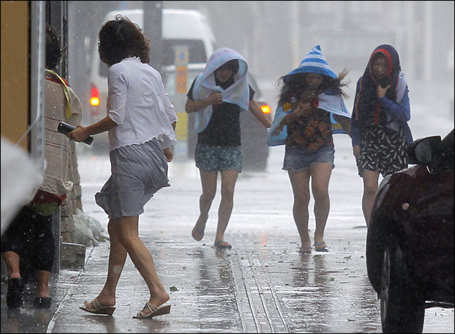 Powerful typhoon pounds Japan's Okinawa islands