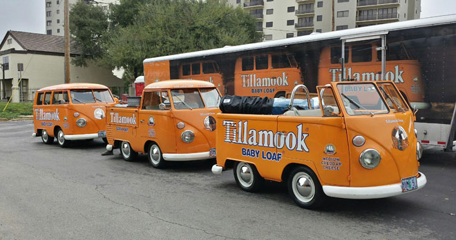 Tillamook cheese VW vans jacked in California