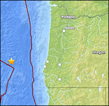 4.5 earthquake off the coast of Oregon