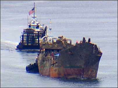 Photos: Sunken drug-smuggling ship towed to Seattle