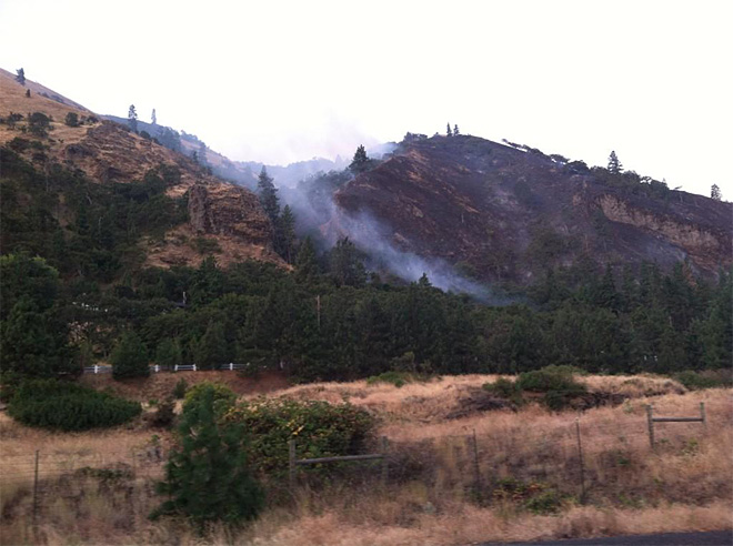 Wildfire near Rowena