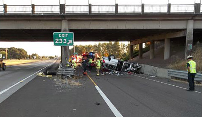 6 hurt, 5-year-old critical after man falls asleep and crashes on I-5
