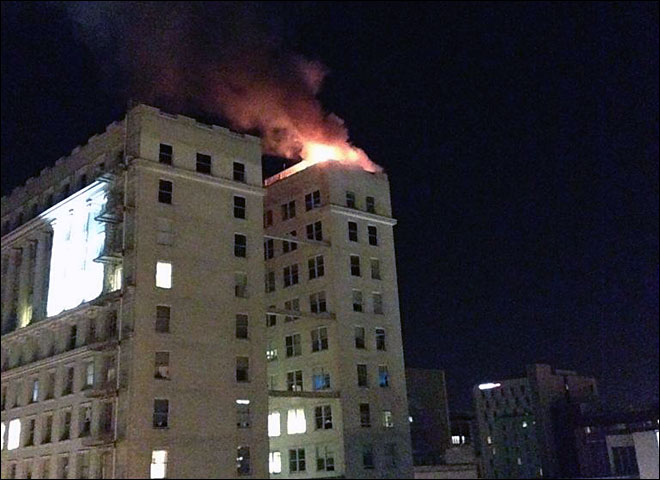 Fire crews battle two-alarm fire on top of Portland's Yeon Building