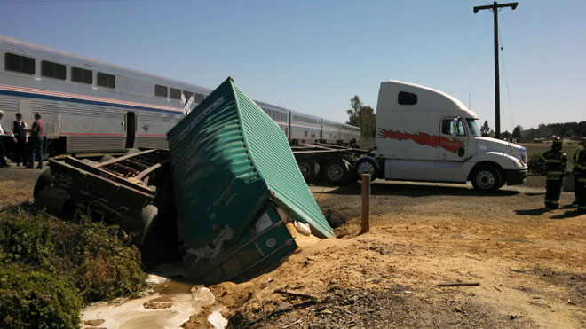 Nobody hurt when Amtrak train collides with truck in Salem