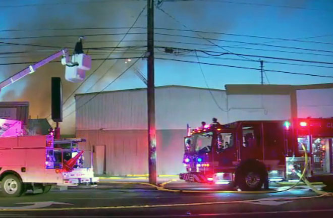 Two firefighters hurt during three-alarm blaze in Oregon City