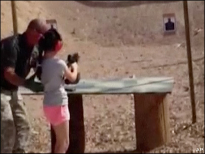9-year-old girl said Uzi was too much for her