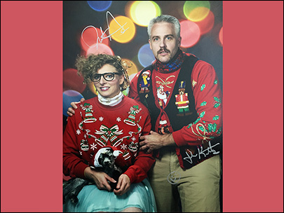 Ugly Christmas sweater photo takes on life if its own
