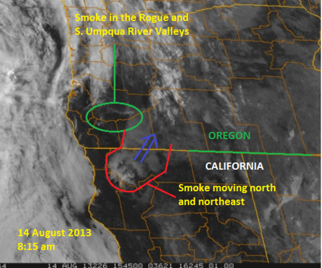 Smoke from fires to the south invades Umpqua Valley