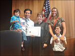 Sworn in as a US citizen: 'We're here ... the American dream!'