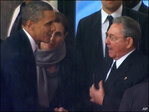 Obama shakes hands with Cuba's Raul Castro