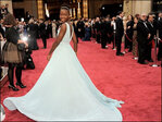 Lupita Nyong'o a goddess in pale blue at Oscars