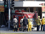 Firetruck rams California eatery; 15 injured