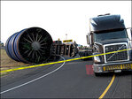 Trailer towing 70 ton turbine rolls, blocking Hwy 126 exit in Springfield