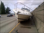 2 car crash leaves boat adrift on I-5 in Downtown Seattle