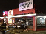 Pickup plows into Starbucks store, driver flees on foot