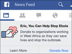 Facebook launches Ebola charity donation button