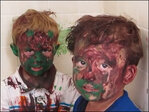 Dad tries to keep straight face scolding kids who covered themselves in paint