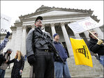 Hundreds of gun-rights activists rally at Washington state capitol