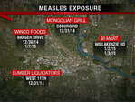 Measles investigation narrows time frames for public exposure