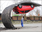 Quirky artist creates complex car installation