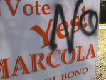 Vandals damage signs supporting school bond
