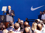 Obama stumps at Nike for Trans-Pacific pact: 'Just do it'