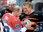 Russia's Putin plays with NHL veterans, scoring 8 goals