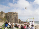 Rescue helicopter crashes beach wedding