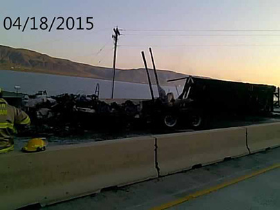 OSP: Semi-truck crash spills approx. 150 gallons of fuel then catches fire