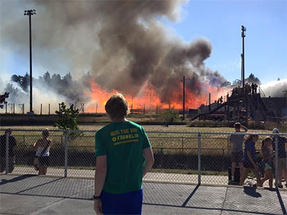 Civic Stadium up in flames, nearby residents evacuated