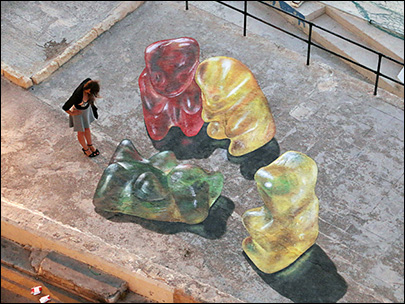 Photos: No Gummy Bears were harmed in this 'sweet death' 3-D art drawing