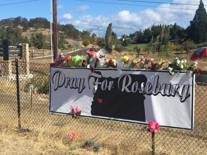 Mourners leave flowers, notes at UCC entrance