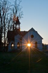 Sun Setting on Old Church
