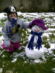 Carlee and her snowman