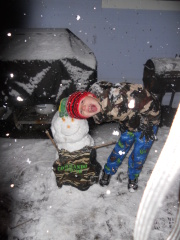 Marky Roberts of JC makes army snowman=)