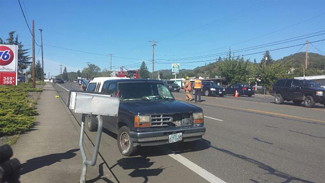 Man struck by pickup in Roseburg still in critical condition