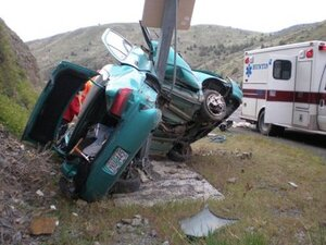 Eastern Oregon man falls asleep, crashes into pole