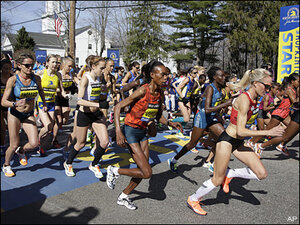 Boston Marathon begins under tight security